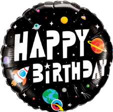 Happy Birthday Space Foil Helium Balloon